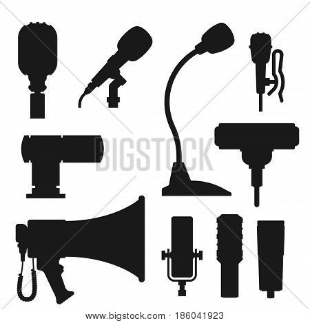 Different microphones types icons journalist vector interview sign music studio web broadcasting vocal tool tv show. Professional classic dictaphone communication equipment