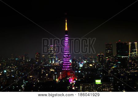 Aerial view of Tokyo Skyline at night with illuminated Tokyo Tower, icon and landmark of Minato Distric in Tokyo, Japan.