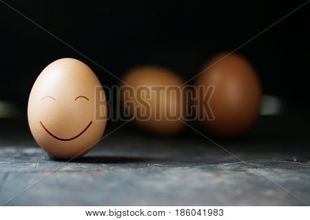 Dozen of chicken egg for cooking breakfast in the egg storage tray with blur background Easter egg for hiding Easter egg surprise happy and smile face in a row closed up