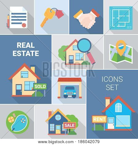 Real estate and agency icons set with buying symbols flat isolated vector illustration
