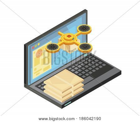 Delivery tracking by internet isometric composition including packages on keyboard, goods location on laptop screen vector illustration