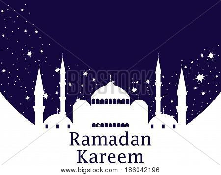 Mosque and stars. Ramadan Kareem. Muslim holiday lights. Celebration banner. Vector illustration