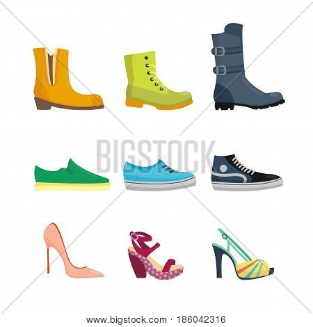 Set of womens shoes flat design vector collection of leather colored moccasins boots illustration. Wear for all seasons. For shoe store ad fashion concepts.