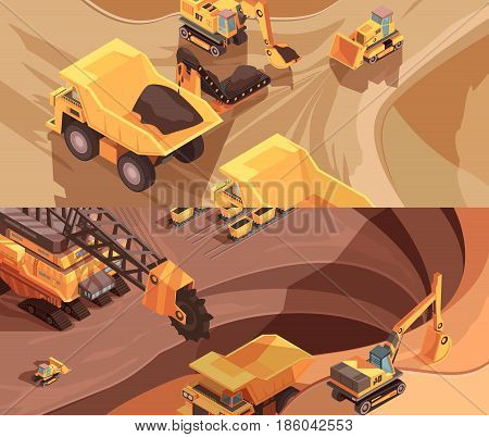 Set of two horizontal mining banners with extractive equipment and machinery on surface of opencast mine vector illustration