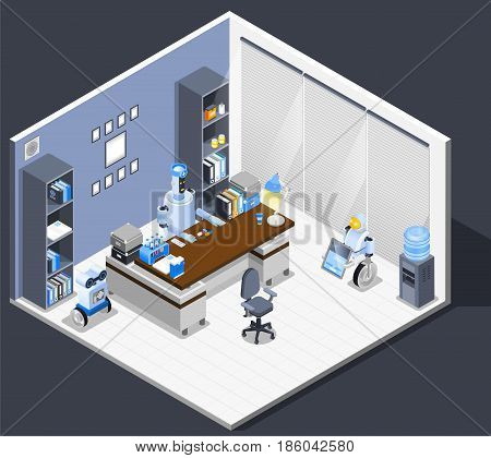 Robot isometric professions composition with office room interior leverage files and robotic worker sitting at table vector illustration