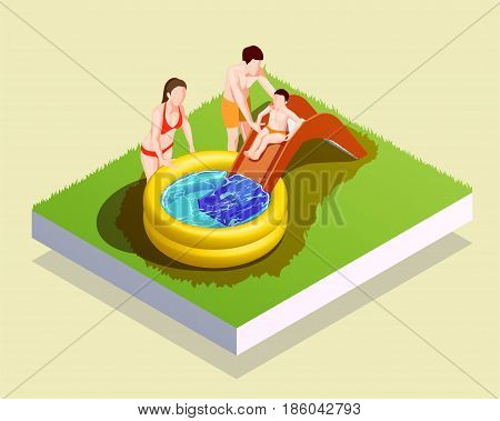 Swimming pool isometric composition with human characters of parents assisting male kid to go down waterslide vector illustration