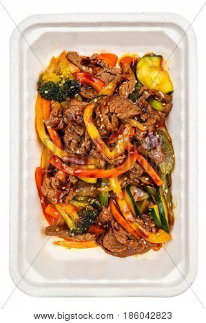 The Vegetables In The Wok With Beef