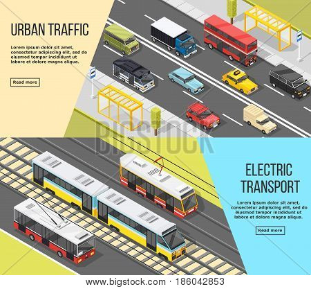 Set of two horizontal transport banners with isometric images of electric transport and urban traffic vehicles vector illustration