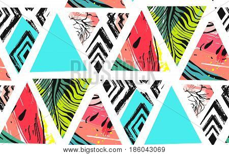 Hand drawn vector abstract summer time collage seamless pattern with watermelon, aztec and tropical palm leaves motif isolated.Unusual decoration for wedding, birthday, fashion fabric, save the date