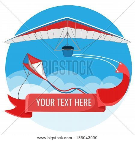 Paraglider and kite with red advertising banner flying in blue sky background realistic vector illustration. Paraplane in air advertisement concept