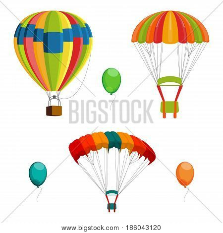 Set of colorful air balloon and parachutes realistic vector illustration isolated on white background. Air mean of transport and flying brolly