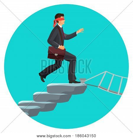 Blindfolded man in suit with suitcase going to cross rope bridge vector illustration isolated on white. Motivated person goes to risk concept