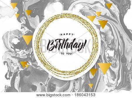 Happy Birthday Black Marble Texture Card. Shimmer Golden Banner Template on White Background. Vector Illustration Gold Foil Glitter Frame.