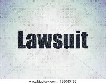 Law concept: Painted black word Lawsuit on Digital Data Paper background