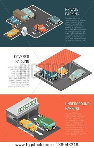 Set of three car parking horizontal banners with isometric compositions of underground and surface car parks vector illustration