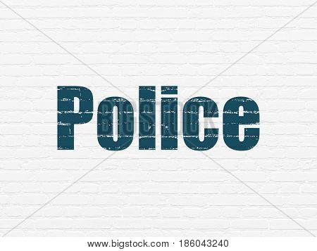 Law concept: Painted blue text Police on White Brick wall background