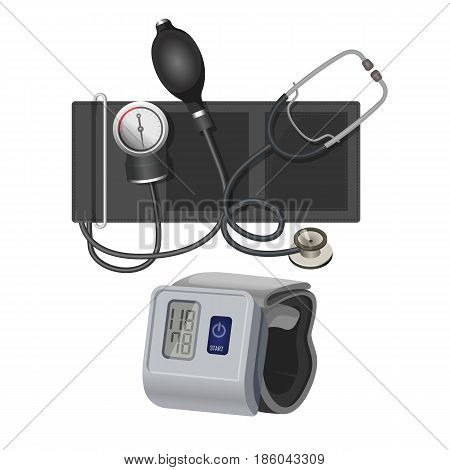 Manometer or sphygmomanometer instrument for measuring blood pressure realistic vector illustration isolated on white background