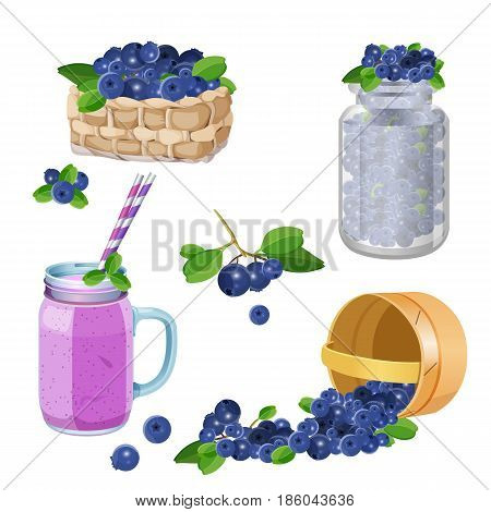 Wooden whicker baskets with blueberries, billberry smoozie in glass cup, berries in jar realistic vector illustration set isolated on white background
