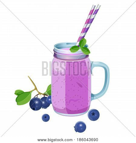 Blueberry smoothie in glass jar with handle, two straws and bilberries around the drink realistic vector illustration isolated on white