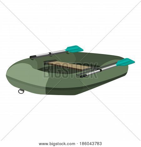 Inflatable dark green boat with two paddles and seat, vector illustration isolated on white background. Rubber ship for rafting