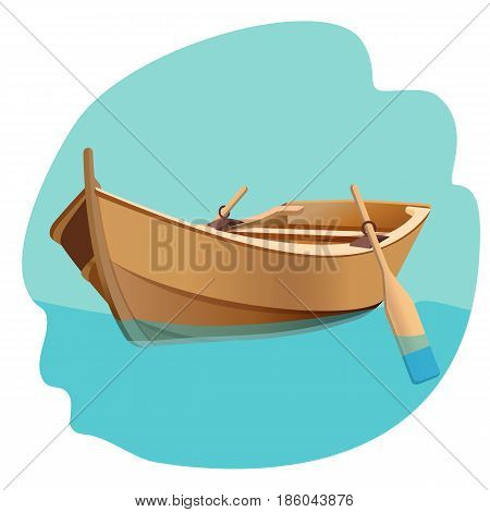 Wooden boat with oars on blue water vector illustration isolated on white. Sailing fisherman s ship with paddles