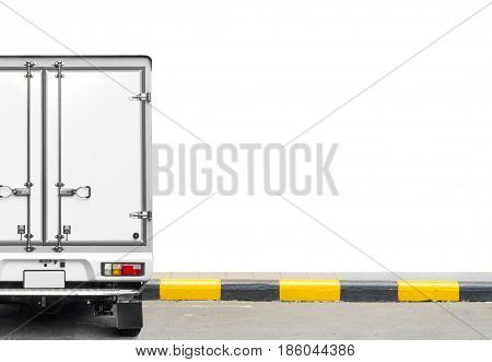 transportation and Delivery concept - Delivery truck isolated on white background and space for text