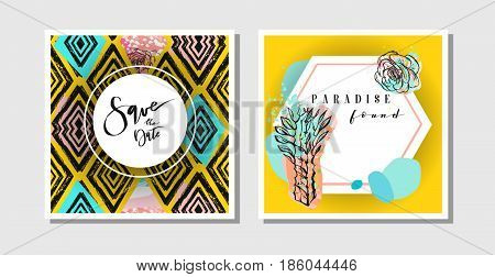Hand drawn vector abstract creative collage freehand textured save the date greeting cards collection set template with succulent flowers and cactus plants isolated.Wedding, save the date, birthday, rsvp