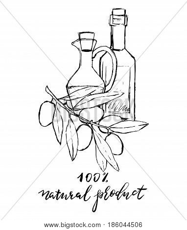 Set of hand drawn vector illustration and lettering olive oil olive branch and bottle for olive oil labels restaurant natural products. perfect stickers and badges for your business