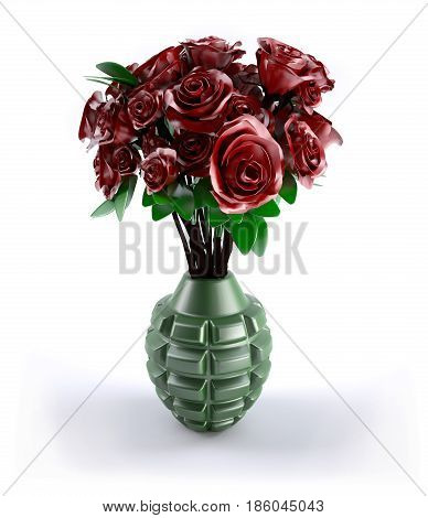 Hand Grenade With Many Red Roses Inside