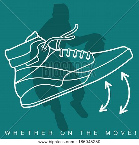 Vector illustration of silhouette of basketball player and sneakers. Sports shoes and player in basketball. Advertisements, brochures. Isolated on a white background