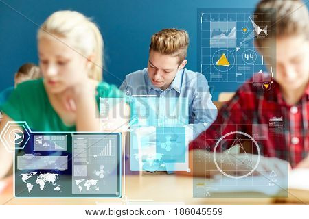 education, statistics and people concept - group of students with books writing school test over virtual screens with charts