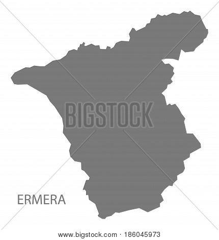 Ermera East Timor Map Grey Illustration Silhouette