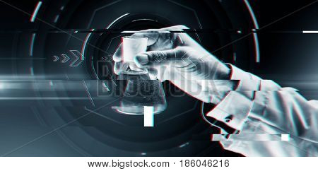 science, chemistry, research and people concept - close up of scientist hand holding test flask with chemical over virtual glitch effect