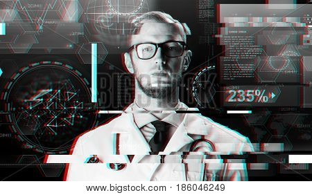 science, technology, people and medicine concept - close up of male doctor in white coat with stethoscope and virtual screens over glitch effect