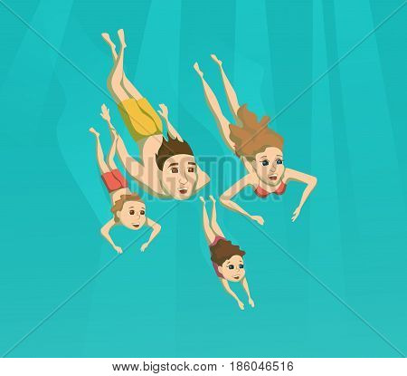 Family swimming underwater. Summer leisure. Woman, man and their children are driving inpool or sea. Sport and activity.
