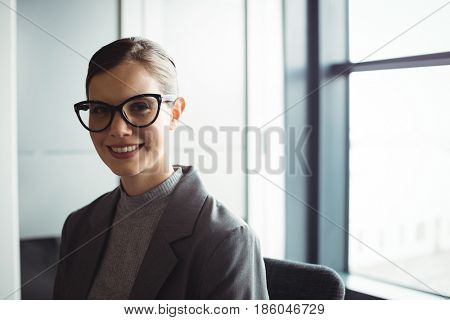 Portrait of smiling counselor in office