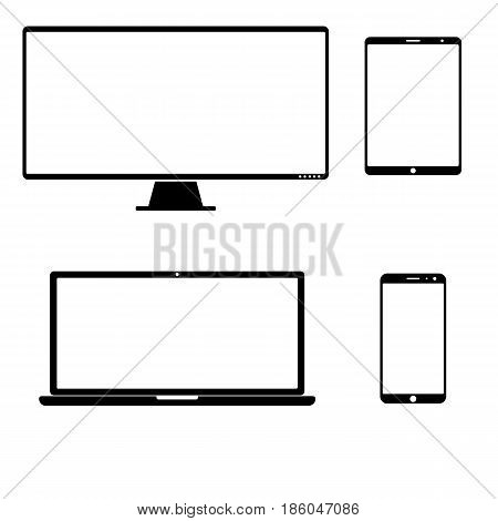 Electronic devices isolated on white background. vector