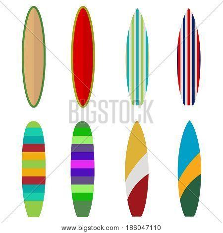Surfboard set of colored surfboards surfer. Flat design vector illustration vector.