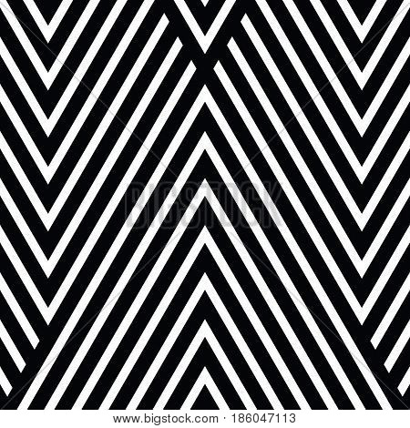 Vector seamless pattern. Decorative ornament, figurative design template with striped black white triangles. Background, texture with optical illusion effect. Decor for card tile textile parquet wall