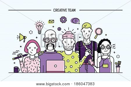 Creative business team concept. Banner with teamwork command. Young designers, girls and guys cv. Lineart flat illustration