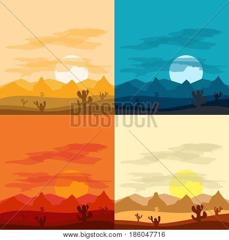 Desert landscape days and desert at night. Landscapes of the desert. Flat design vector illustration vector.