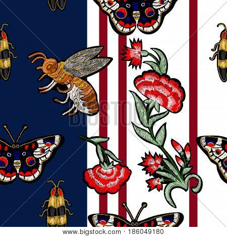 Bee, butterfly, beetle and flowers embroidery. Vector vintage decorative element for embroidery, patches and stickers.