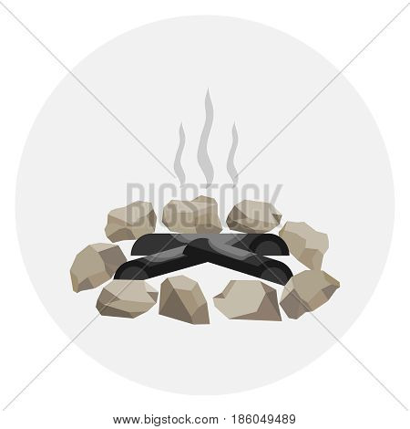 A fading bonfire surrounded by stones. Smoke on the fire ashes. Flat design vector illustration vector.