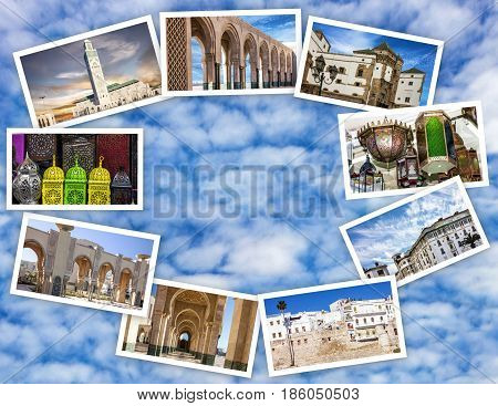 Travel Moroccan landmarks and architecture collage. Casablanca, Morocco.