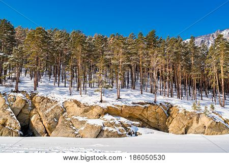 Snow covered the mountain and the pine trees at Lake Baikal Russia