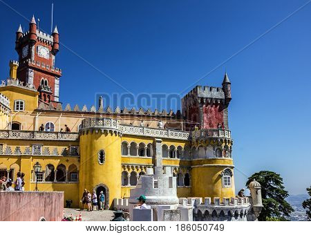 Sintra, Portugal - May 7, 2017: Pena National Palace in Sintra (Palacio Nacional da Pena), Portugal.