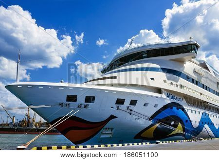 ODESSA UKRAINE - MAY 7, 2017: Cruise ship Aida Aura came into the port of Odessa - biggest cruise port of Ukraine.