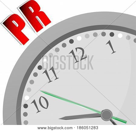Text Pr. Public Relations. Advertising Concept . Color Word And Modern Clock On White