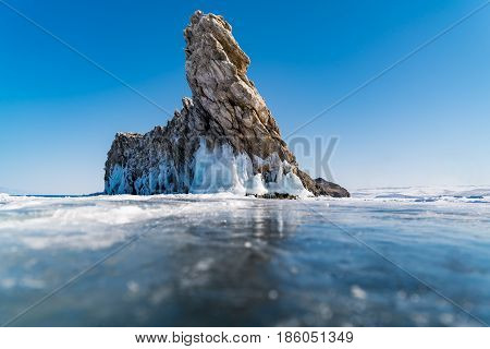 View of Ogoy Island in Lake Baikal Russia during winter