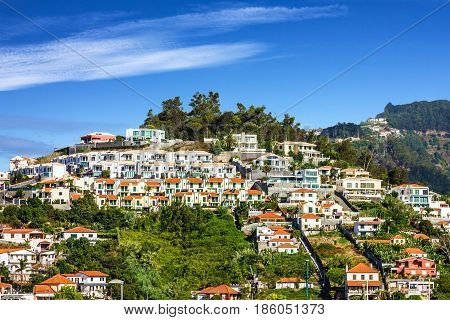 Madeira town houses of Funchal - capital of Madeira island, Portugal